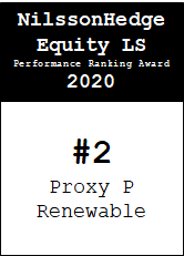 NilssonHedge Performance award: Proxy P Renewable