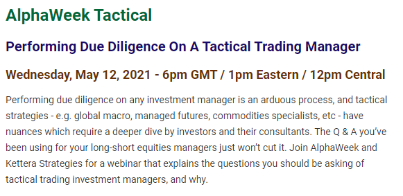AlphaWeek Tactical - Performing Due Diligence on a Tactical Manager